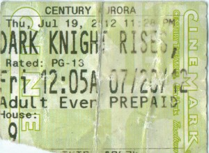 Dark Knight Rises Aurora Shooting Ticket