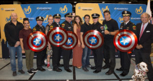 ROSEMONT, IL - AUGUST 18: Randy Malinoff, Ray Santiago, Lieutenant Michael O'Neil, Jason Mewes, Sergeant Blake Fiorito, Cerina Vincent, Sergeant Edward Karas, Ralph Macchio, Officer Nick Koletsos, Lou Ferringo, Commander John Ramirez and John Maatta at Wizard World Chicago Heroes Honoring Heroes Event on August 18, 2016 in Rosemont, Illinois.  (Photo by Tasos Katopodis/Getty Images for Wizard World)
